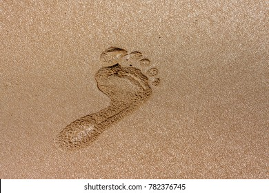 One footprint in the wet sand