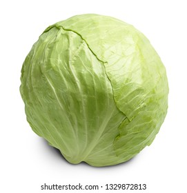 one fresh green cabbage isolated on white background with shadow and clipping path