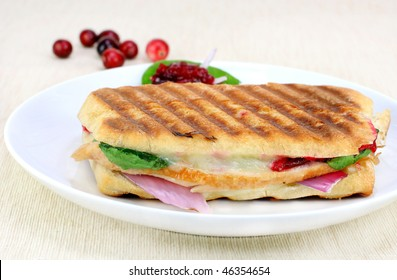 One fresh panini of turkey, spinach, red onion, melted cheese and homemade cranberry sauce.