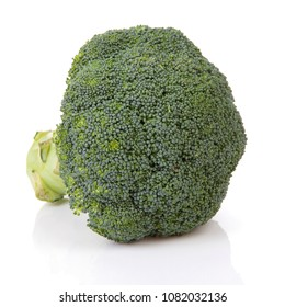 One fresh raw broccoli vegetable over white background