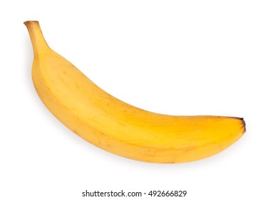 One fresh, ripe banana, isolated on white background, top view, close-up.