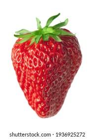 one fresh strawberry, isolated on white background