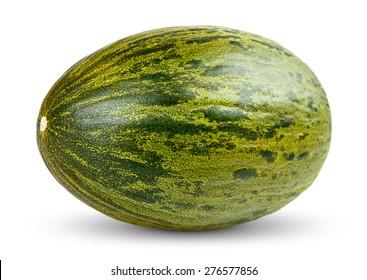 One Fresh whole Piel de sapo melon on white background.
