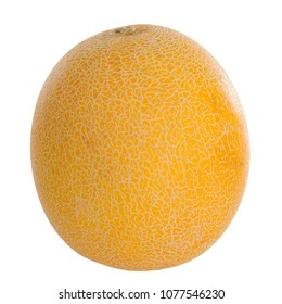 One fresh yellow mellon over white background