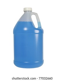 one gallon bottle of blue liquid isolated over a white background