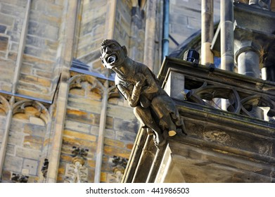 One of gargoyles of St. Vitus Cathedral (Cathedral of Saints Vitus, Wenceslaus and Adalbert) in Prague, Czech Republic.