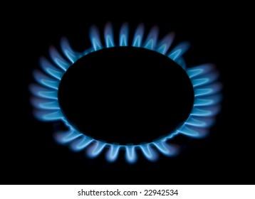 One gas ring burning