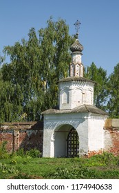 One of the gates of the Monastery of Rizopolozhensky in Suzdall. Russia