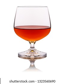 one glass of brandy isolated on white background