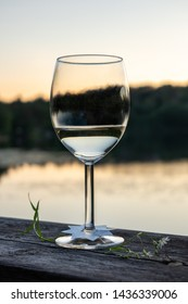 One glass and flower with white wine. Tranquil summer scene with water and sunset nature.