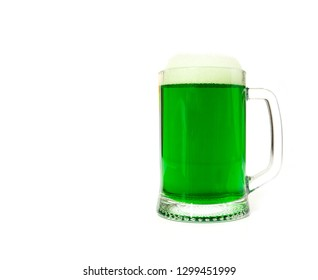 One glass of green beer. Beer for the feast of St. Patrick's Day.