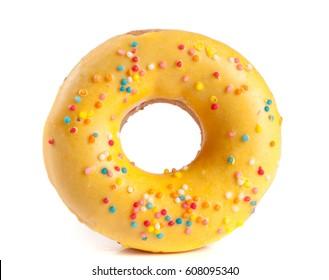 one glazed donut isolated on white background