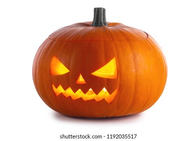 One glowing Halloween Pumpkin isolated on white background