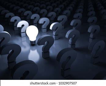 One glowing idea light bulb shining among the question marks on dark blue background , individuality and different concepts . 3D rendering.