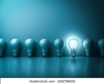 One glowing idea light bulb standing out from unlit incandescent bulbs on dark green pastel color background with reflection , individuality and different creative idea concepts . 3D rendering.