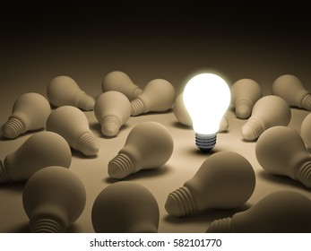 One glowing light bulb standing out from the unlit incandescent light bulbs on white background , individuality and different creative idea concepts . 3D rendering.