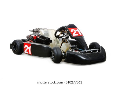 One gocart race car with number 21 isolated on whi´te