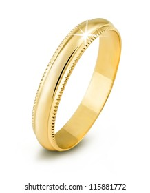 One gold ring on white background