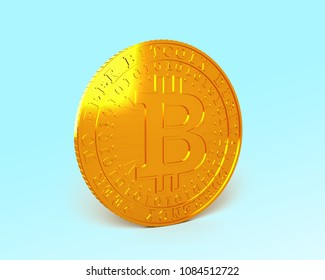 One golden Bitcoin standing on light blue background, concept of cryptocurrency, blockchain technology, bitcoin mining, 3D illustration.