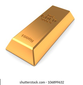 One golden brick isolated on a white background