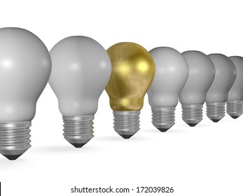 One golden light bulb in row of many grey ones isolated on white background