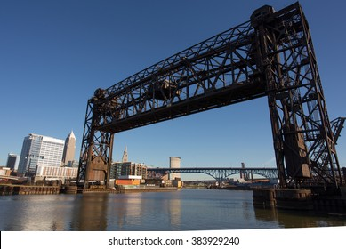 One of a great many lift bridges that span the Cuyahoga River near Cleveland, Ohio. These bridges must allow any approaching boat to pass without a toll.