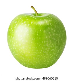 one green apple isolated on a white background clipping path