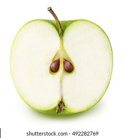 one green cut apple isolated on white background clipping path