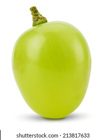 one green grape  isolated on the white background