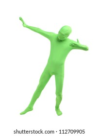 one green zentai costume  man with exaggerated movements