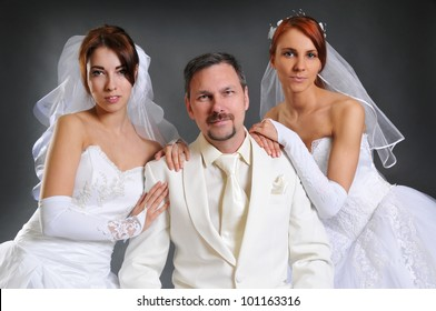 One groom and two brides