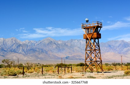 One of the guard towers at the Manzanar Detention Center in California where tens of thousands of people with Japanese ancestry were held during World War II