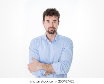 one guy with black goatee in casual clothes