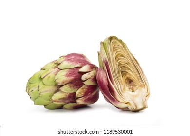 One and a half artichoke in a cut out view