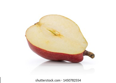 One half of fresh dark red pear anjou cross section isolated on white background