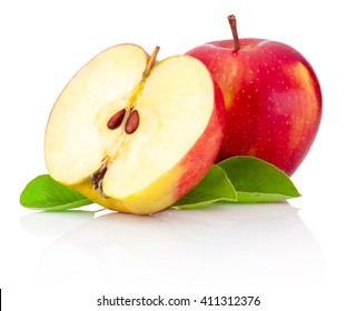 One and a half red apples isolated white background