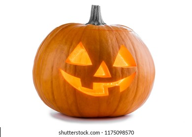 One Halloween Pumpkin isolated on white background