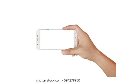 One hand holding mobile smartphone with white screen. Mobile photography concept. Isolated on white.
