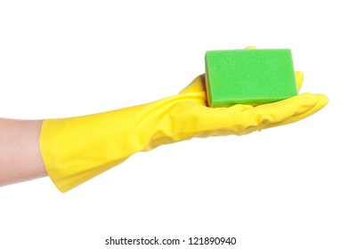 One hand in rubber glove with sponge isolated on white background