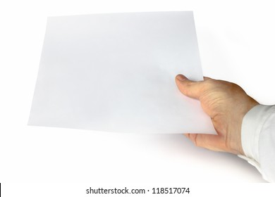 One hand showing a blank document on an isolated background