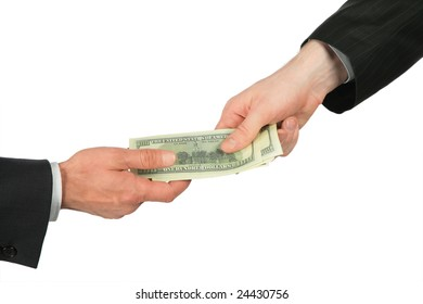 One hand transfers dollars of another