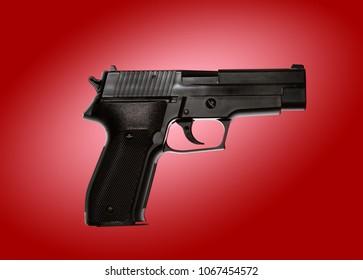 One handgun on red background
