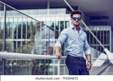 One handsome elegant young man in urban setting in European city 62f01ae3eadc