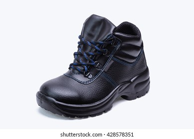 One high leather safety boots for worker on white background/Black safety boot
