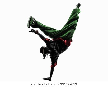 e7072e920896 one hip hop acrobatic break dancer breakdancing young man handstand  silhouette white background