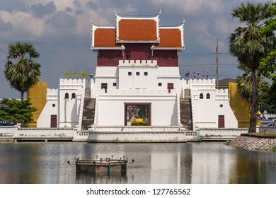 One of the historical, restored city gates of Nakhon Ratchasima (Korat) behind the water-filled moat. This gate is also known as Yamo Gate or Yamo Entrance.