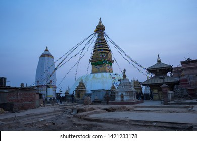 Swayambhuis one of the holiest Buddhist stupasin Nepal.The base of this stupa is cube shaped.The main stupa building is a white domed structure. The stupa is filled with numerous statues .