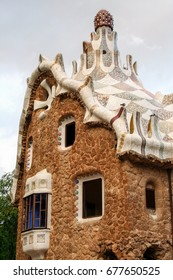 One of the houses  of Gaudi's Parc Guell at Barcelona