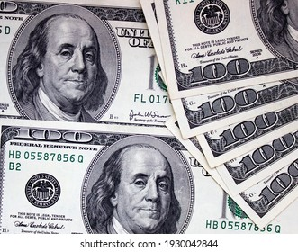 One hundred american dollars close up