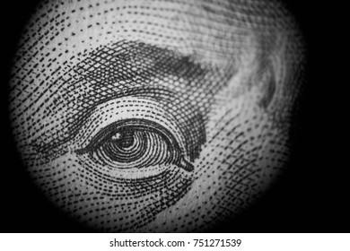 One hundred bill eye closeup